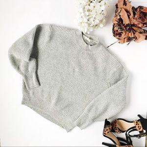 H&M Light Gray Ribbed Sweater Mock Neck